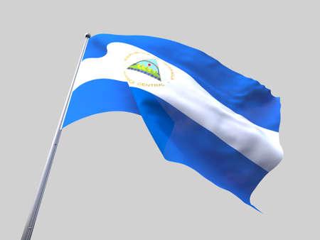flying flag: Nicaragua flying flag isolate on white background.