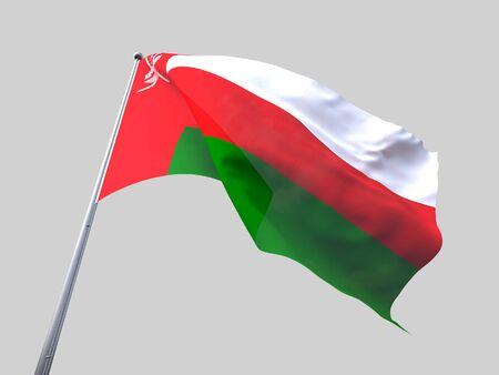 flying flag: Oman flying flag isolate on white background.