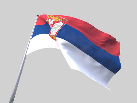 flying flag: Serbia flying flag isolate on white background.