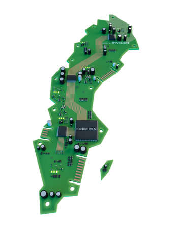 sweden map: Circuit board shape of  Sweden map isolate on white background