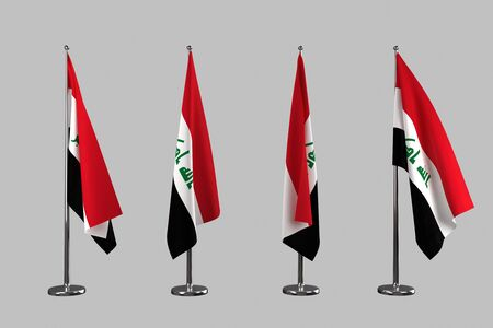 an ally: Iraq indoor flags isolate on grey background Stock Photo