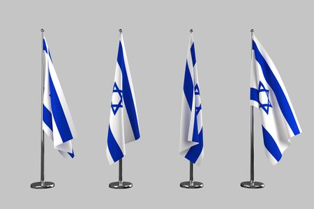 flag of israel: Israel indoor flags isolate on grey background Stock Photo