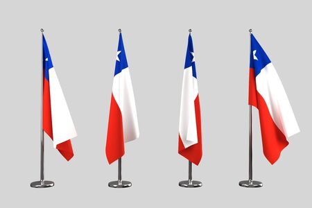 an ally: Chile indoor flags isolate on grey background