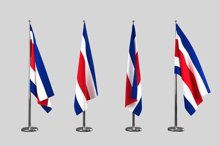 an ally: Costa rica indoor flags isolate on grey background Stock Photo