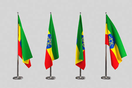 an ally: Ethiopia indoor flags isolate on grey background