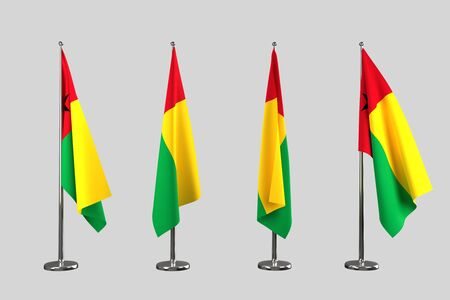 an ally: Guinea Bissau indoor flags isolate on grey background Stock Photo
