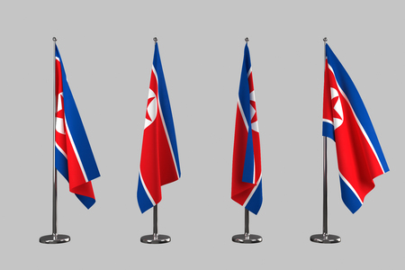indoor background: North Korea indoor flags isolate on grey background