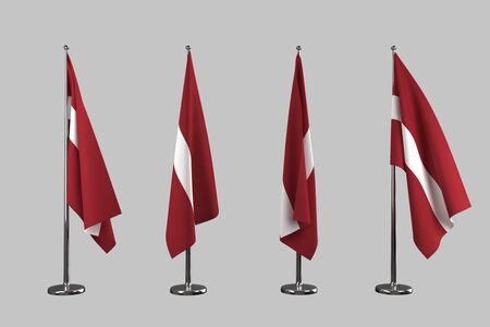 an ally: Latvia indoor flags isolate on grey background Stock Photo