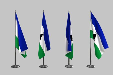 lesotho: Lesotho indoor flags isolate on grey background Stock Photo