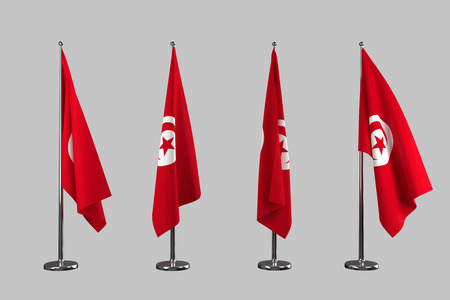 an ally: Tunisia indoor flags isolate on grey background Stock Photo