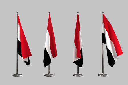 an ally: Yemen indoor flags isolate on grey background