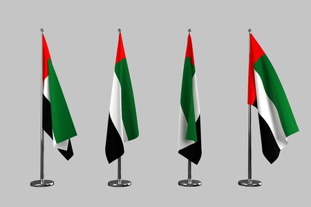 arab flags: UAE  indoor flags isolate on white background Stock Photo