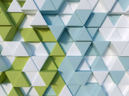 3d triangle: Green and blue abstract 3d triangle background Stock Photo