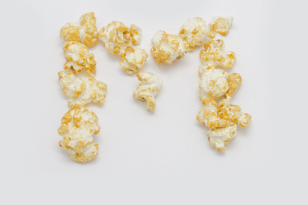 letter word: pop corn forming letter M isolated on white background