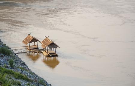raft: Bamboo Raft in mekong River