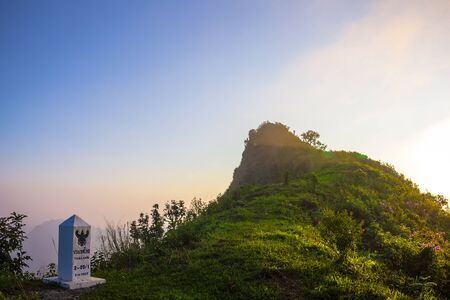 dao: Sun set at phu chi dao cliff chiang rai Thailand Stock Photo