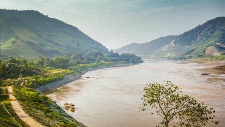 green river: mekong River border between thailand and laos