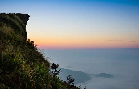fa: Sun rise at phu chi fa cliff chiang rai Thailand