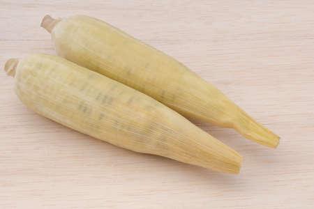 waxy: waxy corn,waxy maize on wood background Stock Photo