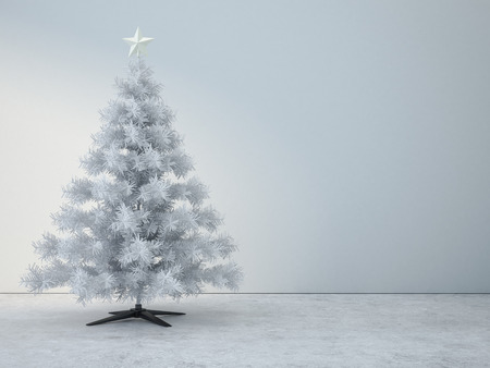 Decorated white christmas tree in white room