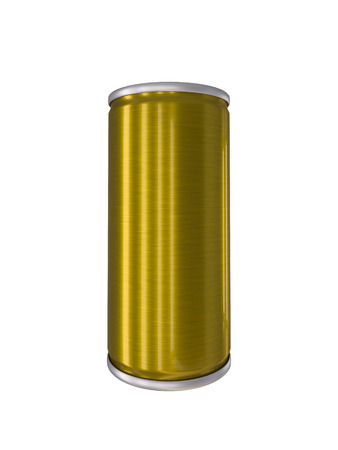 drink can: Yellow Gold Aluminum Drink Can isolated with clipping path Stock Photo