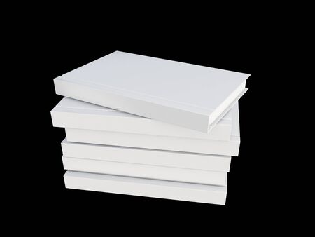 white blank: white cover book isolated on black