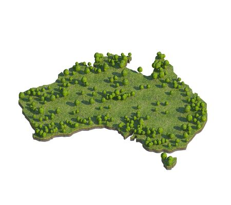 bedrock: 3d render of australia map section cut