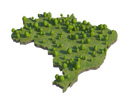 bedrock: 3d render of brazil  map section cut