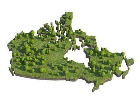 bedrock: 3d render of canada  map section cut