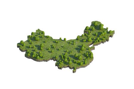 3d geef van China kaart sectie cut die op wit met het knippen van weg