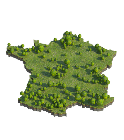 bedrock: 3d render of france map section cut Stock Photo