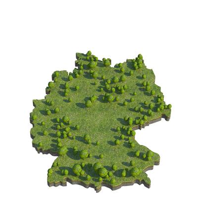 bedrock: 3d render of germany map section cut
