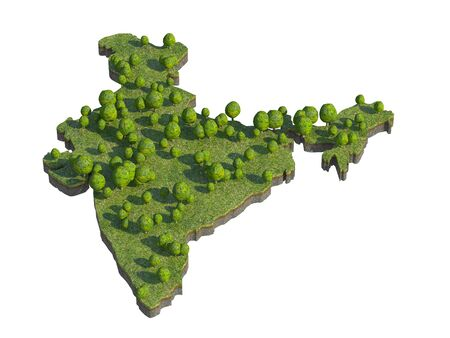 bedrock: 3d render of india  map section cut