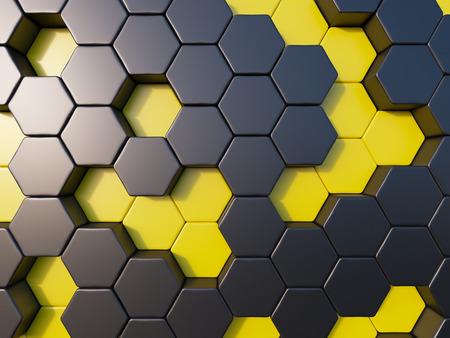 abejas: abeja de metal resumen de antecedentes colmena de abejas de la colmena al azar, de fondo hextagon Foto de archivo