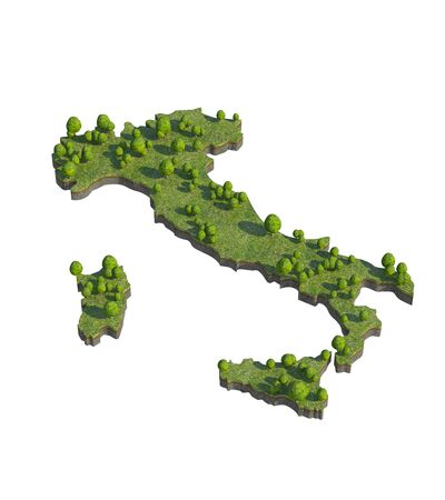 bedrock: 3d render of italy map section cut Stock Photo