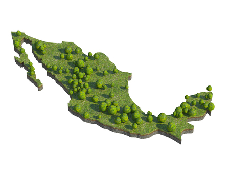 bedrock: 3d render of mexico  map section cut