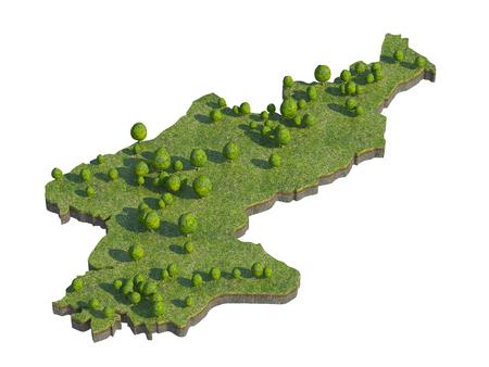 bedrock: 3d render of North Korea  map section cut
