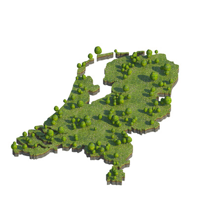 3d render of netherlands map section cut