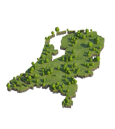 netherlands map: 3d render of netherlands map section cut