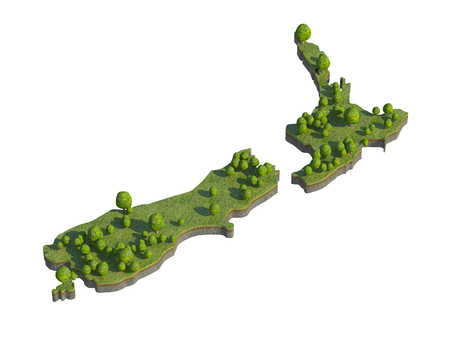 cross section of tree: 3d render of new zealand  map section cut