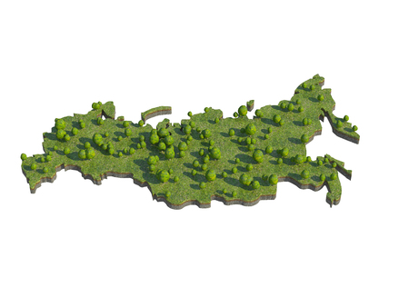 russia map: 3d render of russia  map section cut