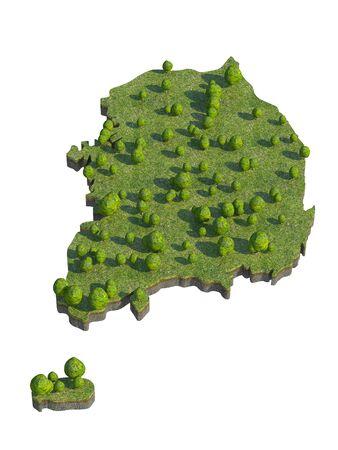 bedrock: 3d render of south korea  map section cut Stock Photo
