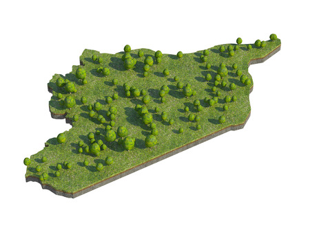 bedrock: 3d render of syria  map section cut