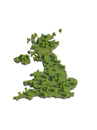 bedrock: 3d render of UK  map section cut Stock Photo