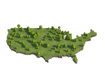 the section: 3d render of USA  map section cut