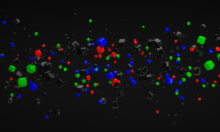 rgb: abstract RGB atom nano technology particle background 3d rendering
