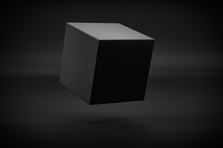 black box levitation on black background 3d rendering