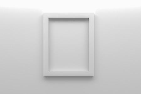 white picture frame: blank white picture frame on wall 3d rendering