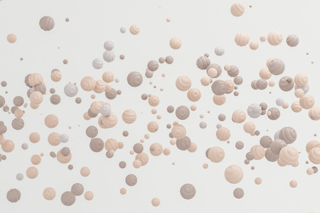Abstract  pastel cream skin background modern shape  object float in the air,blowing particle 3d rendering Stock Photo