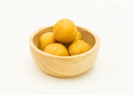 fried snack: ball fried snack isolated on white background Stock Photo